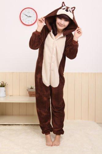 Eule Fledermaus Pinguin Löwe Giraffe Schlafanzug Kostüm Cosplay Freizeitkleidung Kigurumi Einteiler Schlafanzüge (S (für Höhe 150-160cm), Erdhörnchen)