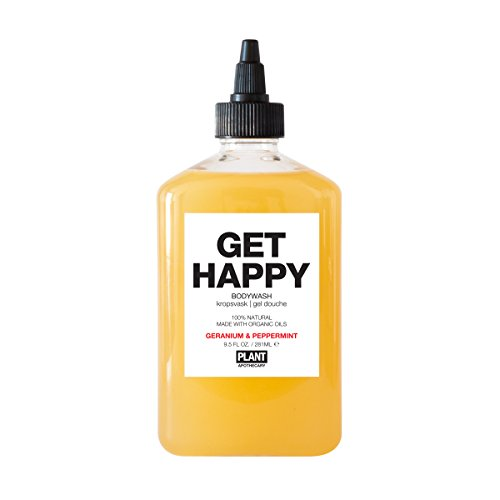 PLANT Apothecary Get Happy Botanical Aromatherapy Body Wash - USDA Organic Geranium & Peppermint Essential Oils - For Unisex - 9.5 oz Body Wash