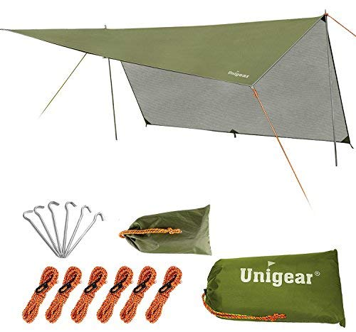 Unigear Waterproof Camping Tarp Hammock Rain Fly, UV Protection and PU 3000mm Waterproof, Lightweight for Backpacking, Survival and Other Outdoor Adventure by Unigear