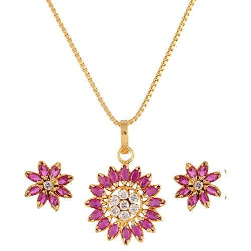 Floral Pendant Necklace Set - Efulgenz 14 K Gold Plated Cubic Zirconia Hypoallergenic Floral Real Gold Look Alike Pendant Necklace Earrings Jewelry Set for Women Girls