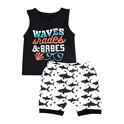 0-6T Toddler Baby Kid Boys Layette Sets Cute Shark Letter Print Sleeveless T Shirts Short Pants Comfy Summer Pajamas Outfits (Black, 18-24 Months)