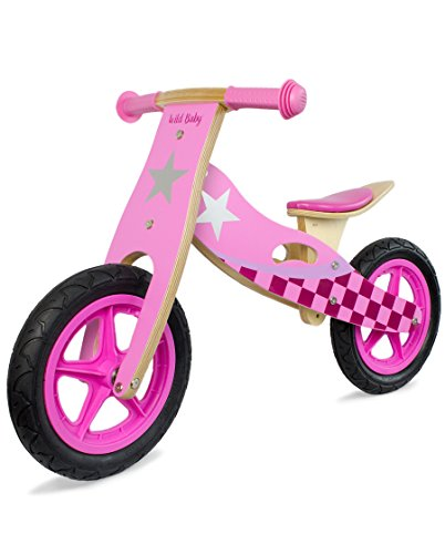 WILD BABY Wooden Balance Running Bike - Upgraded Birch Wood Frame, No Pedal Push Bike - Girls Training Bike For Toddlers & Kids (Pink)