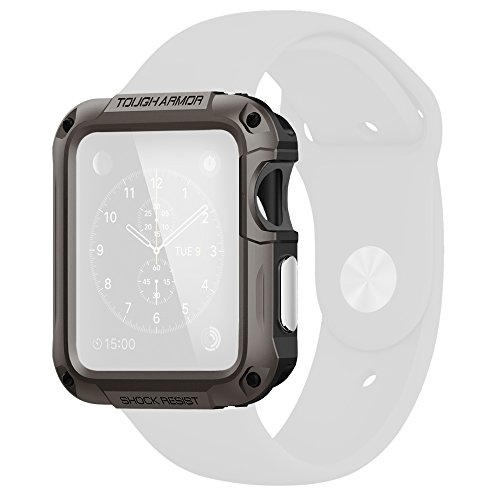 Spigen Apple Watch Case  [Tough Armor] Built-In Screen Protector [Gunmetal] EXTREME Protection Dual Layer Cover for Apple Watch 42mm (2015) - Gunmetal (SGP11504)