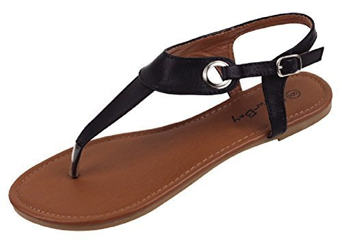 Womens Roman Gladiator Sandals Flats Thongs W/Buckle (8, Black 2207) (Shoes Roman Sandals)