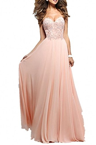 Kleider Rosa Jugendweihe Chiffon Damen Abschlussballkleider Aiyana Spitze Rosa Promkleider Abendkleid Ausschnitt V Lang tqPFwgR