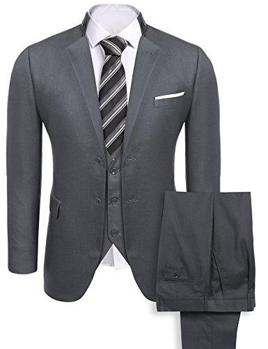 Coofandy Men's 2-Button 3-Piece Suit Single-Breasted Blazer Jacket Vest Trousers,Gray,XX-Large ()