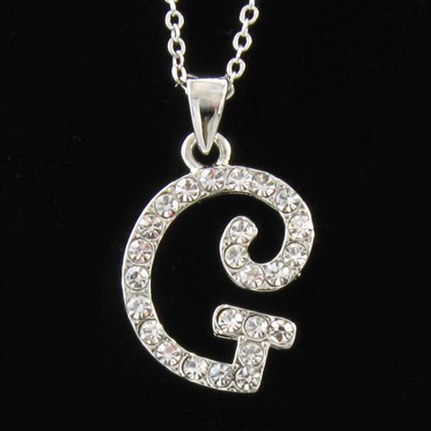 amazoncom initial letter g pendant necklace charm ladies teens women fashion jewelry charm chain necklaces jewelry