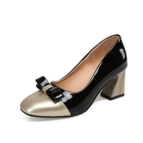 BalaMasa Womens Assorted Color Kitten-Heels Black Patent Leather Pumps-Shoes - 8 B(M) ()