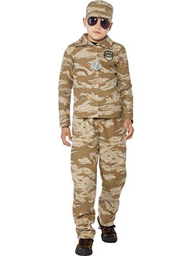 Boys Army Costume Desert Camouflage Soldier Boy Uniform Fancy Dress Age 4-6 -