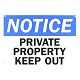 """SmartSign Aluminum OSHA Safety Sign, Legend """"Notice: Private Property Keep Out"""", 7"""" High X 10"""" Wide, Black/Blue on White"""