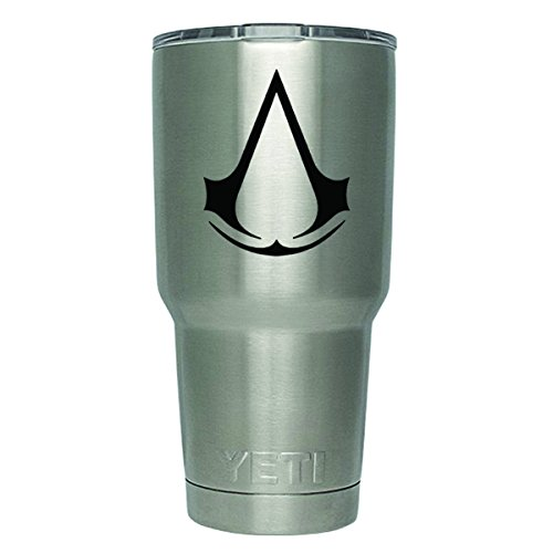 Ezio Revelations Costume (DD184 2-Pack Assassin's-Creed-logo Decal Sticker (DECAL ONLY CUP NOT INCLUDED) | 3-Inches | Premium Quality Black Vinyl | Yeti RTIC Orca Ozark Trail Tumbler Decal)