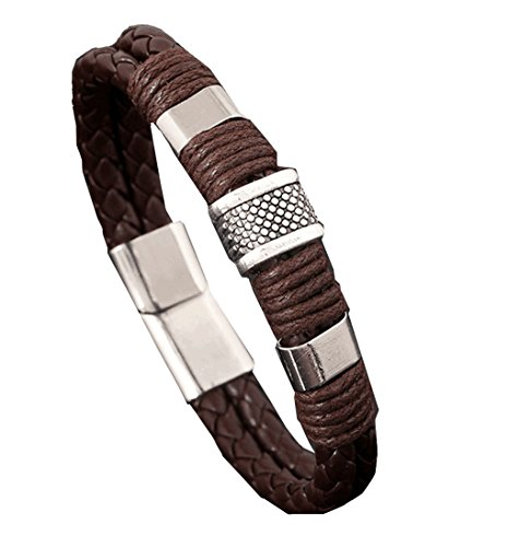 (Brown) Retro Fashion Personality Woven Leather Bracelet (Brown)