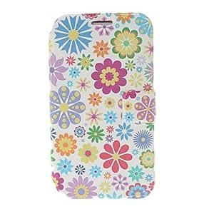 Pequeño estuche de cuero Florals colorida fresca con soporte para Samsung Galaxy Note N7100 2
