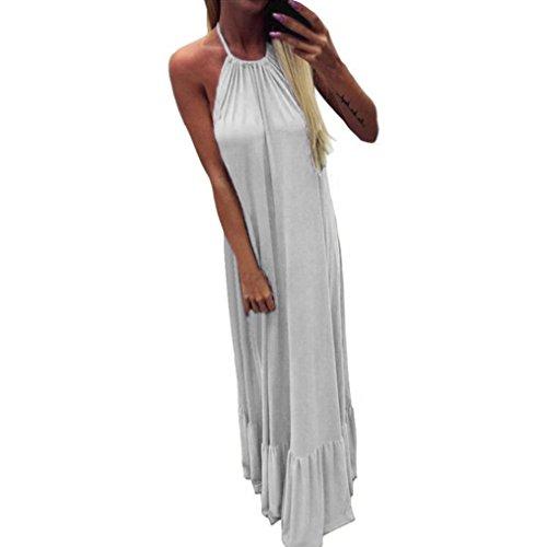Long Dress, Franterd Womens Spaghetti Strap Solid Tank Maxi Beach Dress, Sling, Backless, Casual, Loose (XL, White) -