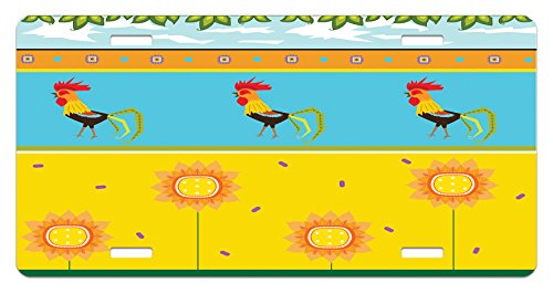 Rooster Clipart - Lunarable Gallus License Plate, Rooster Pattern with Sunflowers Summer Greenery Sky Floating Clouds Clipart, High Gloss Aluminum Novelty Plate, 5.88 L X 11.88 W Inches, Earth Yellow Blue