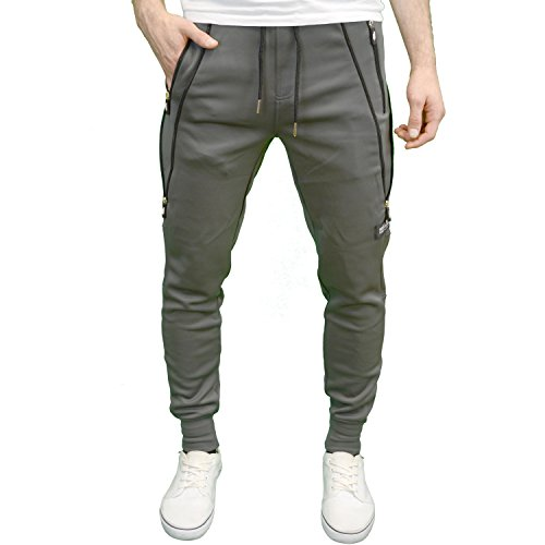 Fremont & Harris Mens Slim Fit Jogger Bottom Elastic Waistband Branded Tracksuit (XX-Large, Grey)