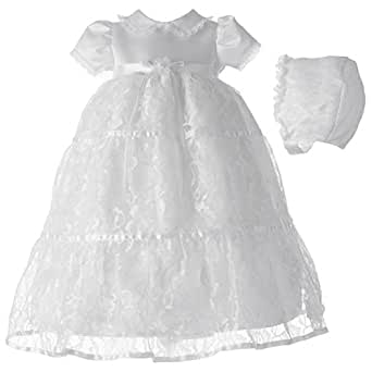 Lauren Madison baby girl Christening Baptism Special occasion Newborn Floral Lace dress gown , White, 0-3 Months