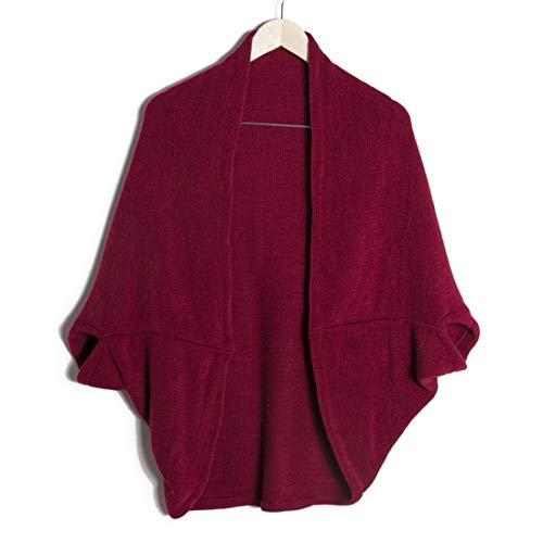 Maniche Maglia Ovesuxle Mantello Cardigan Sciolti Pipistrello Wine Scaldamani color Red Maglione Sciarpa Con Lavorato Wine A 8rFw8q