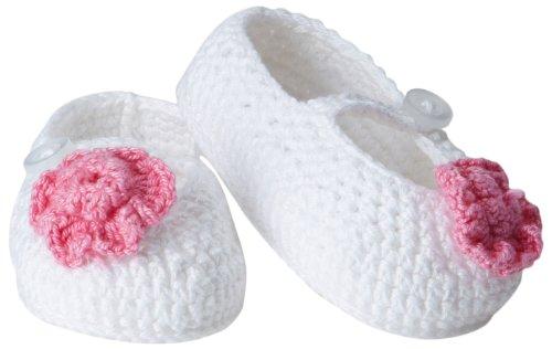 Jefferies Socks Baby-Girls Infant Flower Mary Jane Bootie, White, (Mary Jane Newborn Booties)