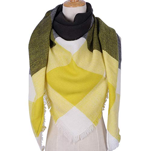MJ-Young Winter Triangle Scarf For Women Designer Shawl Cashmere Plaid Scarves Blanket Triangle YellowBlack onesize