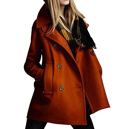Women Trench Coat,Cenglings Long Sleeve Solid Thicker Double-Breasted Outwear Waterproof Coat Jacket ()