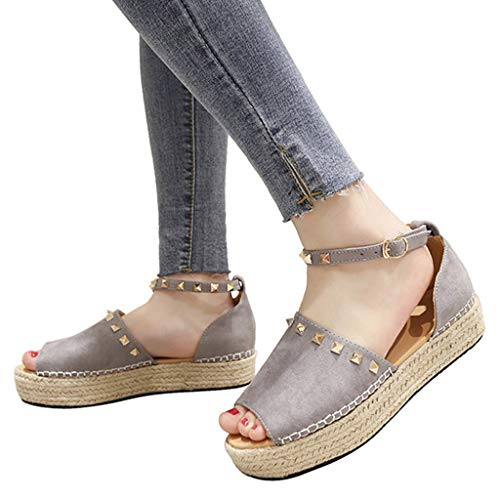 Peep Toe Espadrille Wedges Discount,melupa Ladies Rivet Flat Playform Buckle Woven Thick-Bottom Sandals Roman Shoes