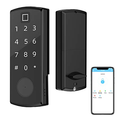 Fingerprint Lock, Wandwoo Smart Door Lock with Bluetooth Secure Finger ID Mechanical Keys Enabled Anti-peep Code Auto Lock Works with iOS and Android for Home Office Garage Apartment