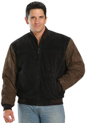 USA Leather Classic Mens Black/Brown Leather Jacket - Large (Varsity Jacket Leather Suede)