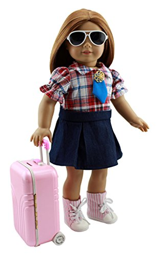 Wesen American Girl Doll Travel Outfits Pink Suitcase and Clothes with Boots + Sunglasses Fit 18 inch - Glasses Boots Case