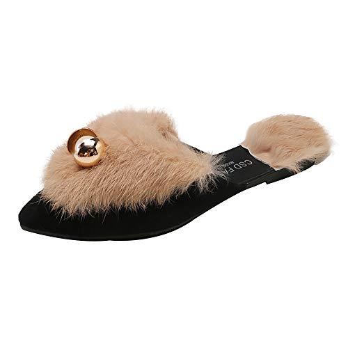 Baigoods Women's Soft Furry Flat Slip-on Loafer Slides Velvet Backless Fur Mules Beaded Pointed Toe Flat Slippers Wear Lazy