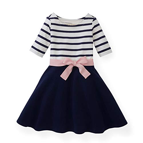 (Hope & Henry Girls Navy with Rose Ribbon Blocked Skater Dress)