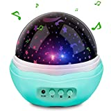 Powcan Music Multicolor Moon Star Projector Night Light Rotating Starry LED Baby Projection Lamp, 12 Soft Light Music Children Bedside Lamp for Baby Kids and Adults, Living Room and Bedroom