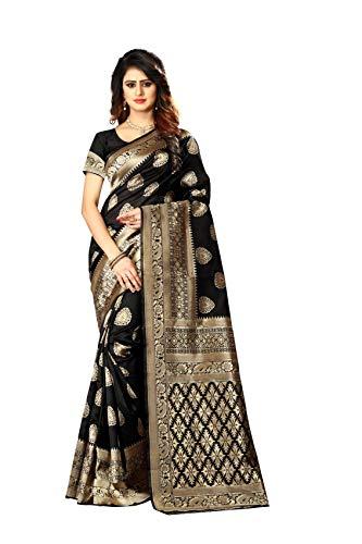 Latest Women's Banarasi Silk Saree Indian Wedding Ethnic Sari & Unstitch Blouse Piece PARI 21 (Black) Saree 3