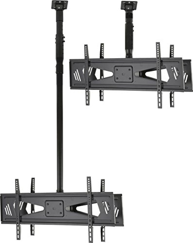 Displays2go DUOCEL3770 Double Sided Height Adjustable Ceiling TV Mount for 37-Inch to 70-Inch Flat Screen Monitors (Black)