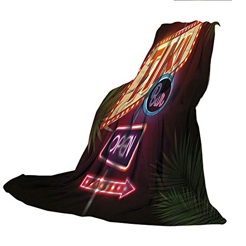 SCOCICI Comfortable Printing Blanket and Washing Machine Washable,Tiki Bar Decor,Old Fashioned Neon Signs Illustration Open Bar Palm Tree Branches Roadside Decorative,Multicolor,59.06