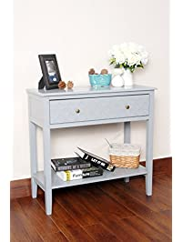 grey finish pattern design console sofa entry table with shelf drawer