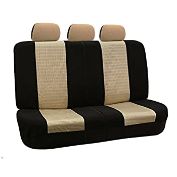 Fh Group Universal Fit Full Set Trendy Elegance Car Seat Cover, (Beigeblack) (Fh-fb060115, Airbag Compatible & Split Bench, Fit Most Car, Truck, Suv, Or Van) 1
