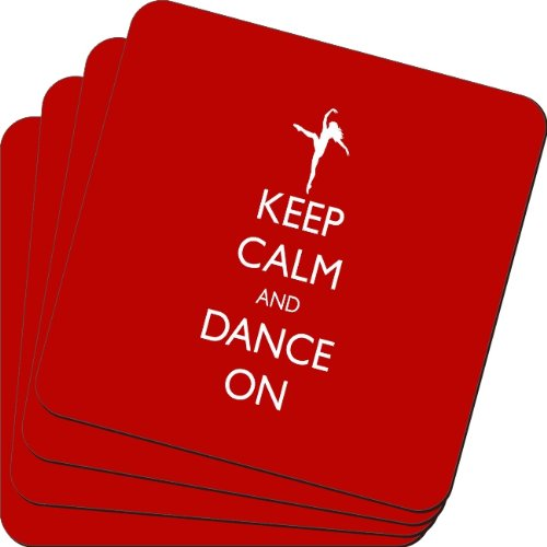 Rikki Knight Keep Calm and Dance on Red Color Design Soft Square Beer Coasters (Set of 2), Multicolor