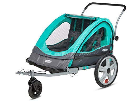 InStep Quick-N-EZ Double Seat Foldable Tow Behind Bike Trailers, Converts to Stroller/Jogger, Featuring 2-in-1 Canopy and 16-Inch Wheels, for Kids and Children, Teal (Renewed)