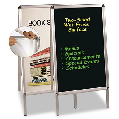 MasterVision Wet Erase Reversible Double Sided Reversible Poster and Sign Board, Black with aluminum (Reversible 2 Side Chalkboard)
