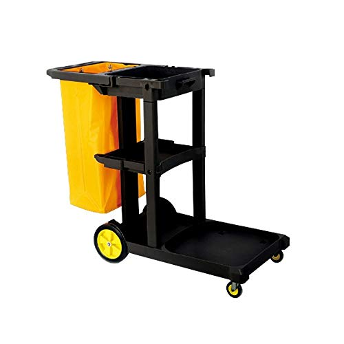 ZCF YEUX Hand Trucks Hotel Linen Car Service Cleaning Car Collection Car Service Trolley Black Yellow
