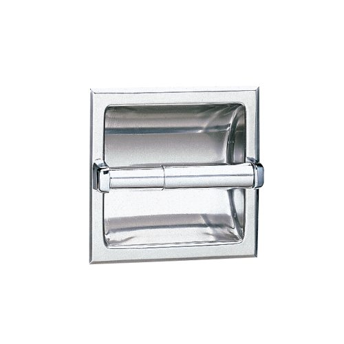 Bobrick 667 304 Stainless Steel Recessed Toilet Tissue Dispenser with Mounting Clamp, Bright Finish, 6-1/8