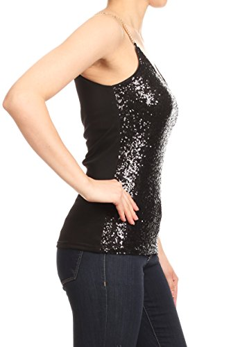 c16fce1cf19ee4 Anna-Kaci Womens Spaghetti Strap Sequin Metal Chain Shiny Party Club Camisole  Tank Top