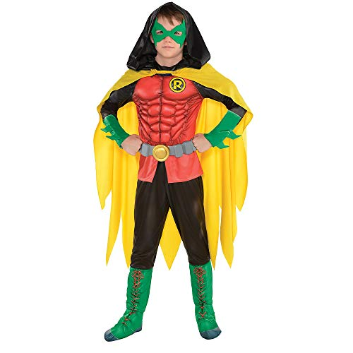 Suit Yourself DC Comics: New 52 Robin Muscle Costume for Boys, Size Medium, Includes a Padded Jumpsuit, a Cape, and More]()