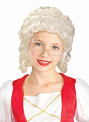 Historical White Colonial Girl Child Wig - Handmade Girls Colonial Costumes
