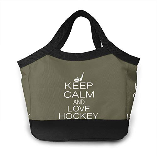 (FKCUYPL Leakproof Lunch Bags Keep Calm and Love Hockey Tote Bag Large for Men)
