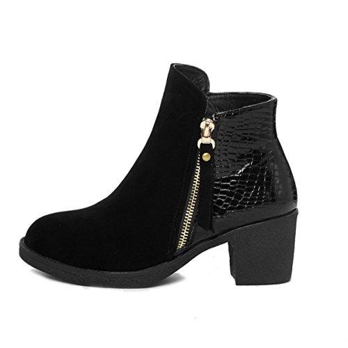 Blockabsatz PU Damen Schuhe Casual Stiefeletten Scrub Reißverschluss Damen C8g4qSw4