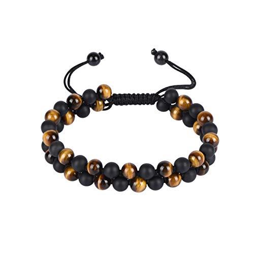 - ELEMEN Genuine Stone Beads Bracelet - Natural Stone Prayer Mala Beads Black Obsidian Beaded Bracelet Adjustable 6mm Couples (6mm Tiger Eye & Onyx)