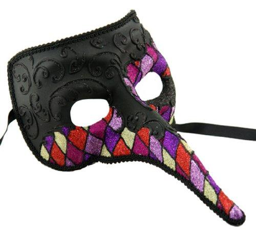 Zanni Venetian Mask Black Harlequin #2 Masquerade Halloween Costume Costume Party -