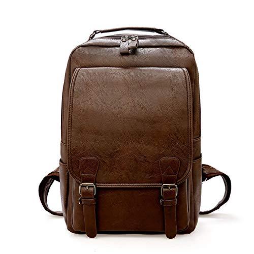 Vintage Men Backpack Waterproof Leather Travel Bag Big Capacity Laptop,Dk Brown